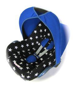 Maxi Cosi cover stars black and white zwart witte sterren bekleding hoes hoesje blue blauw knalroze baby boy jongetje lief stoer circus overtrek carseat car seat pimp pimpen DIY