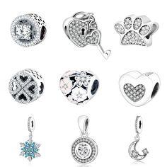 925 Sterling Silver Beads Fit Originale Pandora Fascini Dei Braccialetti del Fiocco di Neve Ciondola Fascino Con Clear Blue Cubic Zirconia Berloque