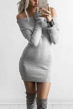 Gray+Off+Shoulder+Long+Sleeve+Sexy+Sweater+Dress+#Gray+#Dress+#maykool