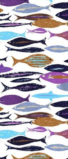 Ken Scott Portofino Blue Fish - #textile: