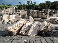 Toppled architectural elements at the fantastic ancient Roman city of Beit She'an, Israel