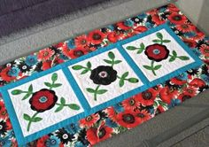 Quilted Table Runner  Applique Rose of Sharon by PatsysPatchwork, $40.00
