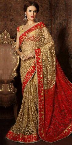 Luxurious Beige Net Saree With Blouse.