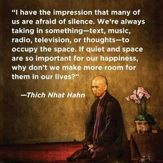 """""""I have the impression that many of us are afraid of silence. We're always taking in something - text, music, radio, television, or thoughts - to occupy the space. If quiet and space are so important for our happiness, why don't we make more room for them in our lives?"""" Thich Nhat Hanh                                                                                                                                                     More"""
