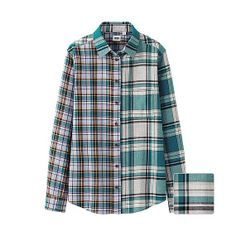 WOMEN Flannel Check Long Sleeve Shirt C