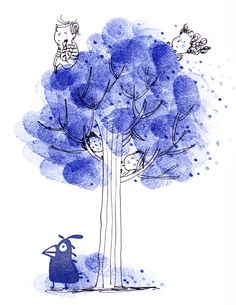 Tree House! - Ella Okstad #kids #tree #treehouse #leaves #nature #bird #fun #cute #fingerprint #inktober #penandink #ink #blackandwhite #blueandwhite #monochrome #childrensbook #illustration #kidlit #kidlitart #kidlitartist #kidsbooks #booksforkids #raiseareader #sharestories #books #read #teaching #resources #learning #teacher #art #illustrator #bookstagram #instaart #draw #sketch #sketchbook