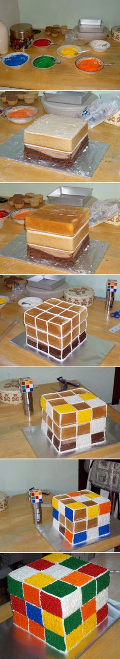 Rubik's Cube Cake ~ How-To link on page