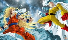 Collab : Goku vs Saitama by Maniaxoi on DeviantArt Crash Team Racing, Saitama One Punch Man, Starcraft, Overwatch, Kid Buu, Guerra Ninja, Saitama Super Arena, Good Anime To Watch, Ssj3