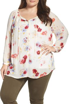 Floral Print Peasant Blouse (Plus Size)
