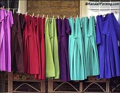 """Amish clothing...""""For many years the accepted wear for our Amish women was rich and royal blue, green or purple under a black apron for every day wear. Now every color seems acceptable...."""" (amishwisdom.com)"""