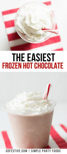 Easy frozen hot chocolate drink recipe you can in under 5 minutes. Uses only 3 ingredients, making this frozen hot chocolate a perfect way to enjoy hot chocolate all year long--even when it's hot!