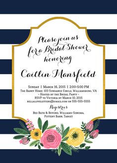 Navy White Stripe Flower Shower Invitation by bellaloveletters