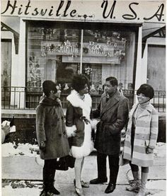 Martha and the Vandellas and Brian Holland outside Hitsville in the Motor City