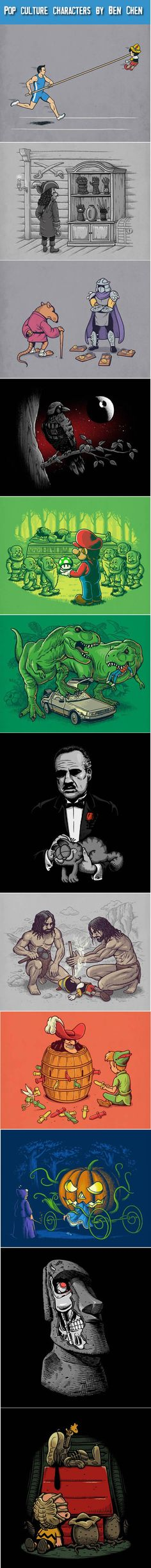 Pop Culture Characters: Twisted illustrations by Ben Chen.