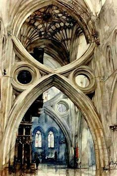 Wells Cathedral. Scissors arches were added centuries later to stabilize the sinking central tower. #gothicarchitecture
