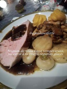 Mignon de veau basse température, jus corsé à la truffe, légumes glacés Celerie Rave, Beef, Chicken, Food, Truffle, Corse, Juice, Ice, Meat