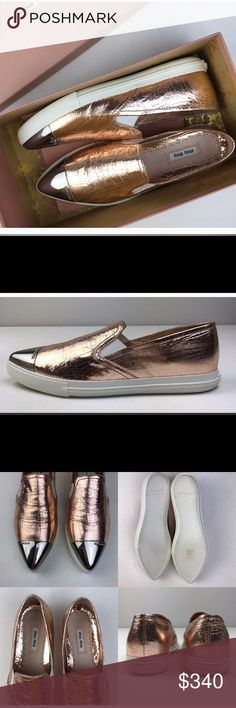 Selling this NIB Miu Miu Madras Rose Gold Leather Sneakers on Poshmark! My username is: kussteph. #shopmycloset #poshmark #fashion #shopping #style #forsale #Miu Miu #Shoes