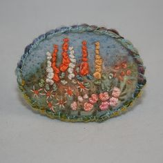 Embroidered Brooch - A Summer Garden