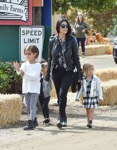 Kourtney Kardashian with her children Mason and Penelope, and Kim Kardashian's child North West on a day out in Los Angeles