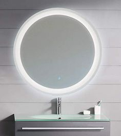 KAASUN LED Lighted Round Mirror Wall Mount Circle Illuminated Bathroom Vanity Mirror with Anti-Fog Demister Pad Built in Touch Switch Frameless Mirror, Led Mirror, Lighted Mirror, Wall Mounted Light, Wall Mounted Mirror, Large Mirror With Lights, Fashion Kids, Small Bathroom, Mirror Bathroom