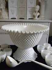 RARE~Gorgeous Vintage 15-pc. Fenton Hobnail Milk Glass Punch Bowl Set w/Pedestal