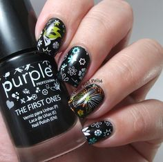 The Clockwise Nail Polish: Purple Professional 18 Black'It & Flowers & Butterflies & My opinion on Pueen encore set
