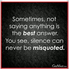 "People get tired of being blamed for everything that goes wrong in the universe. There is a such thing as ""personal responsibility."" After so much of the same, silence is the answer. No drama, no arguing, No hypocrisy, no blaming, no justifying, no one-upping. SILENCE IS GOLDEN."