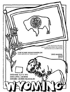 1000 images about wyoming on pinterest food chains for Wyoming flag coloring page