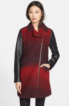 Ted Baker London 'Annamae' Ombré Moto Jacket with Leather Sleeves available at #Nordstrom