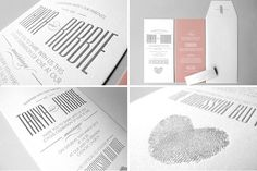 Classic & Modern wedding invitations - such a cute idea to create a heart shape from the couple's fingerprints.  Designs are from Canvas Stationery Boutique.