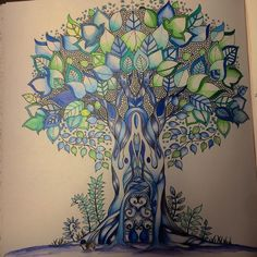 """No.2 The tree!! #johanna #johannabasford #adultcolringbook #colors #enchantedforest #coloring #hobby #freetime"""