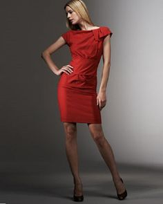 Nicole Miller Gathered-Bow Dress Size 10 Retail $385.00 Sale $250.00. We love the color of this dress.  Great cocktail dress.  Wear a jacket over it to the office. Remove your jacket and your ready for a night out. This is a four season piece. The cut is very forgiving.  No one makes a dress better than Nicole Miller. Her clothes are always refined and element. But always very fashionable. Nice Dresses, Dresses For Work, Dallas Mavericks, Nicole Miller, Dress With Bow, Dress Making, Night Out, Size 10, Fashion Dresses