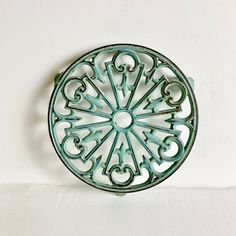 French Antique Shabby Chic Trivet - Chippy Turquoise Trivet - Vintage French Kitchen Trivet - Ornate Iron Trivet