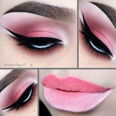 Some beautiful gradient ombre lips using pink and white lipstick by @depechegurl, paired with a pink, black and white winged eyeliner. More: http://blog.furlesscosmetics.com/depeche-gurl/