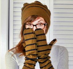 DIY: hat and mittens from an old sweater/ http://www.shrimpsaladcircus.com/2012/11/sewing-tutorial-sweater-into-hat-long-mittens.html
