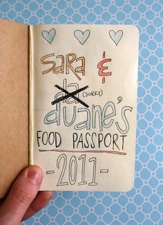 "Super cute idea, a restaurant passport, to take some of the ""I dunno, where do you want to go?"" out of dinners out.  Making this for Joshua tonight :))"