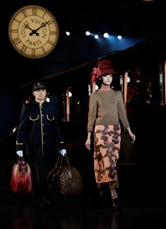 Loving LV's use of trains and old school bellmen carrying gorgeous, lux luggage. Tres chic.