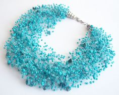 Turquoise multistrand Bead crochet Necklace with natural stone