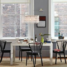White lacquered finish Parsons Dining Table | west elm