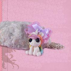 Einhorn Kette Halskette Anhänger unicorn Polymer Clay mit Schleife kawaii Schmuck handgemacht