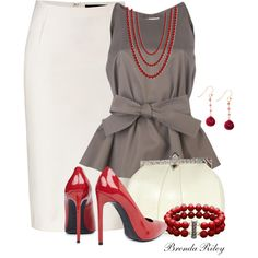 """""""Red, White & Gray"""" by brendariley-1 on Polyvore"""