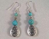 Turquoise and Silver Teardrop Dangle Earrings