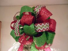 Large Lime Green and Red with glitter circles Ribbon and matching chevron stripe ribbon  Christmas Tree topper bow by creativelycarole on Etsy