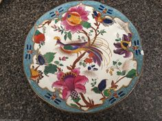 """BOOTHS LUNCHEON PLATE 9"""" COLORFUL FLOWERS & BIRDS CHIP ON EDGE"""