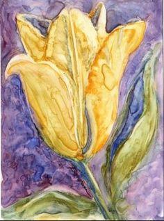 Yellow tulip painting