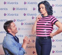 Awesome Lana and Sean being funny Sean pretending to ask Lana to marry him #FairyTales2Con Paris France Sunday 6-22-14
