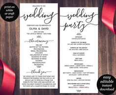 Wedding Program Template – Tea Length - Gray Leaf Monogram ...
