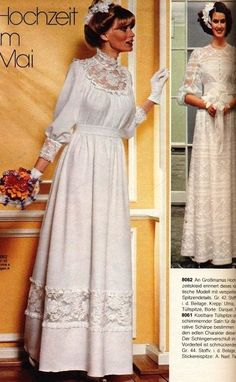 1970s Wedding Dress, Designer Wedding Dresses, Bridal Dresses, Wedding Gowns, Modern Vintage Dress, Vintage Dresses, Vintage Outfits, Vintage Fashion, 70s Fashion
