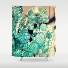 Turquoise Blue Chandelier, Custom Photographic Art, Shower Curtain, Home Decor, Romantic Decor For The Bath