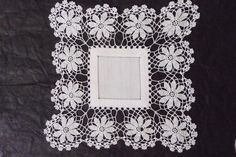 Vintage Crochet Doily Daisy Doily White Square by TickleAndFinch